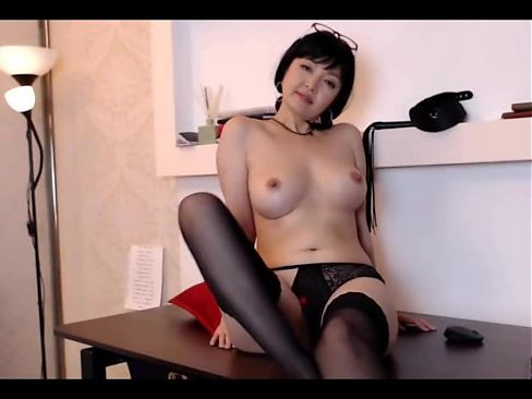 Mature Asian secretary stays at office after work