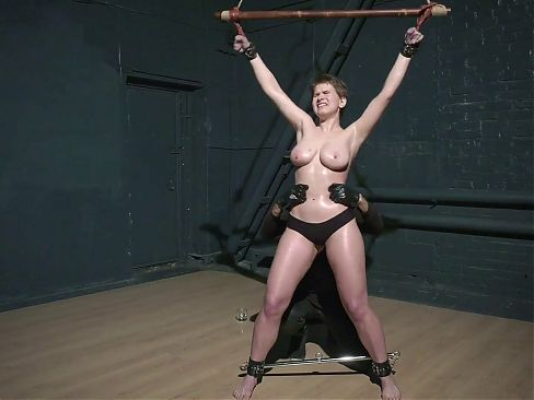 Thick dyke with huge thighs is tricked into bondage by male dom