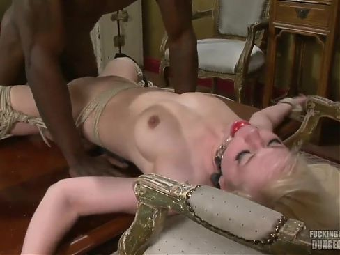 Blonde wife tied to chair and used by a black cock