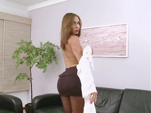 Transsecretary with huge cock in pantyhose